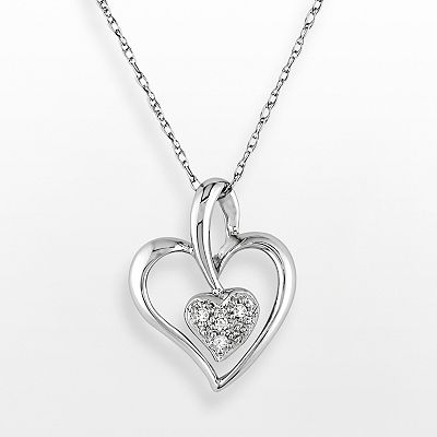 10k White Gold Diamond Accent Heart Pendant