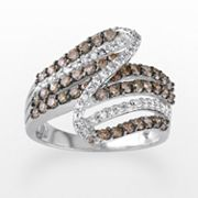 10k White Gold 1-ct. T.W. Brown and White Diamond Swirl Ring