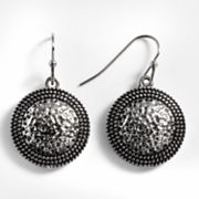 Kate Markus Stainless Steel Textured Disc Drop Earrings