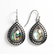 Kate Markus Stainless Steel Abalone Doublet Teardrop Earrings