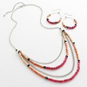 Mudd Silver Tone Bead Swag Necklace and Hoop Drop Earring Set