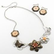Mudd Two Tone Simulated Crystal and Filigree Flower and Butterfly Necklace and Drop Earring Set