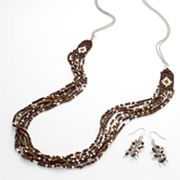 Mudd Two Tone Seed Bead Long Swag Necklace and Cluster Drop Earring Set