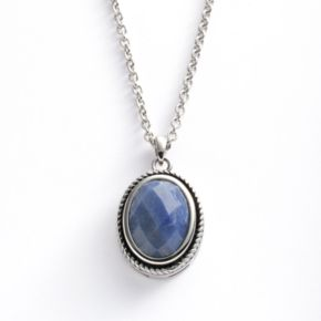 Kate Markus Stainless Steel Blue Quartz Oval Frame Pendant