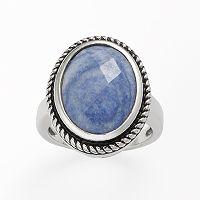 Kate Markus Stainless Steel Blue Quartz Oval Frame Ring