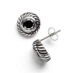 Kate Markus Stainless Steel Black Cubic Zirconia Textured Frame Stud Earrings