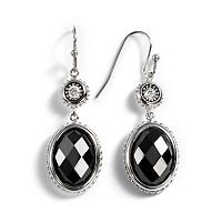 Kate Markus Stainless Steel Onyx & Cubic Zirconia Drop Earrings