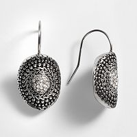 Kate Markus Stainless Steel Simulated Crystal Curved Disc Drop Earrings