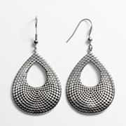 Kate Markus Stainless Steel Textured Teardrop Earrings