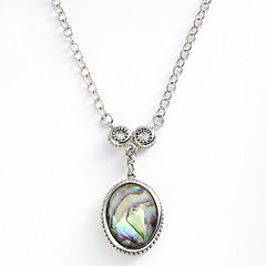 Kate Markus Stainless Steel Abalone Doublet & Cubic Zirconia Y Necklace