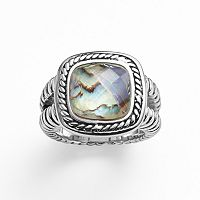 Kate Markus Stainless Steel Abalone Doublet Textured Frame Ring