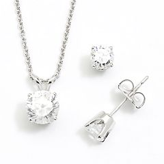 DiamonLuxe Sterling Silver 1.95-ct. T.W. Simulated Diamond Pendant & Stud Earring Set