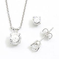 DiamonLuxe Sterling Silver 1.95-ct. T.W. Simulated Diamond Pendant & Stud Earring Set