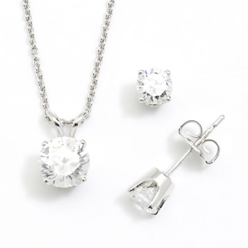 DiamonLuxe Sterling Silver 1.95-ct. T.W. Simulated Diamond Pendant and Stud Earring Set