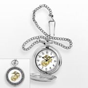 U.S. Marine Corps Silver Tone Pocket Watch - W000710 - Men