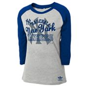 adidas New York Yankees Raglan Tee - Girls 7-16