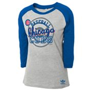 adidas Chicago Cubs Raglan Tee - Girls 7-16