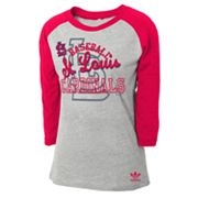 adidas St. Louis Cardinals Raglan Tee - Girls 7-16