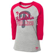 adidas Philadelphia Phillies Raglan Tee - Girls 7-16