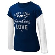 adidas New York Yankees Mock-Layer Tee - Girls 7-16