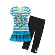 Knitworks Neon Striped Peace Top and Capri Leggings Set - Girls 7-16