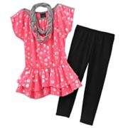 Weavers Girl Dot Neon Top and Capri Leggings Set - Girls 7-16