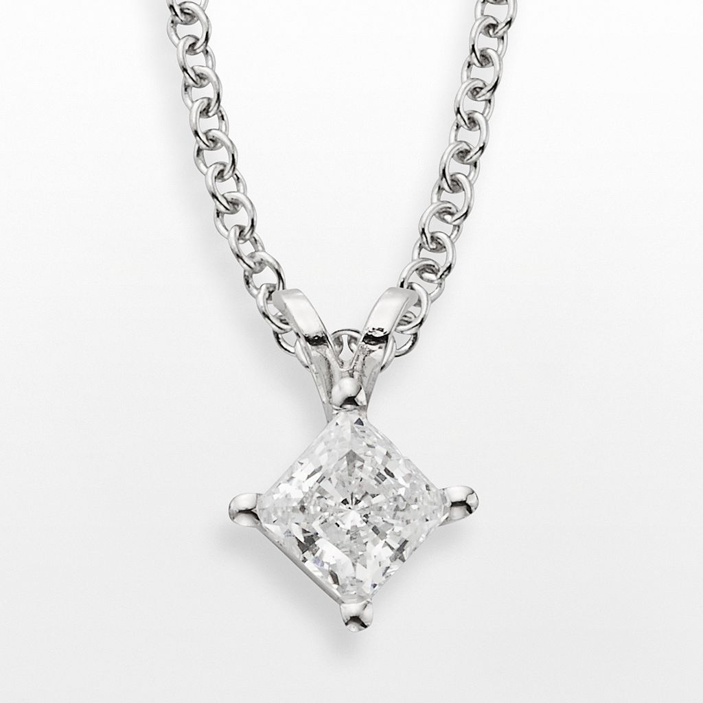 14k White Gold 1/2-ct. T.W. IGL Certified Diamond Solitaire Pendant