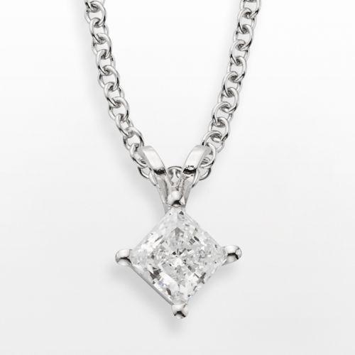 14k White Gold 1/2-ct. T.W. IGL Certified Diamond Solitaire Pendant