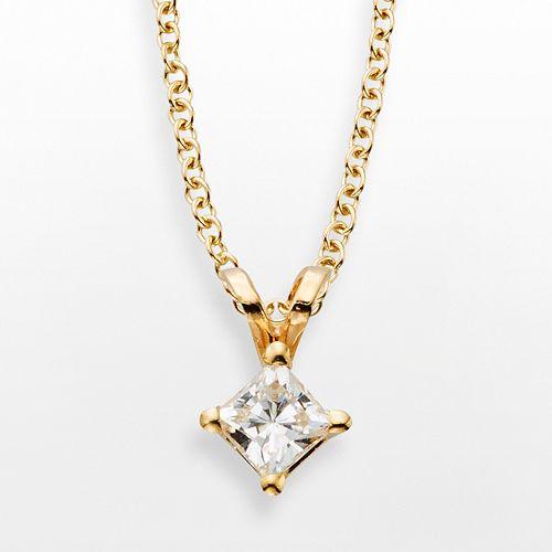14k Gold 1/4-ct. T.W. IGL Certified Diamond Solitaire Pendant