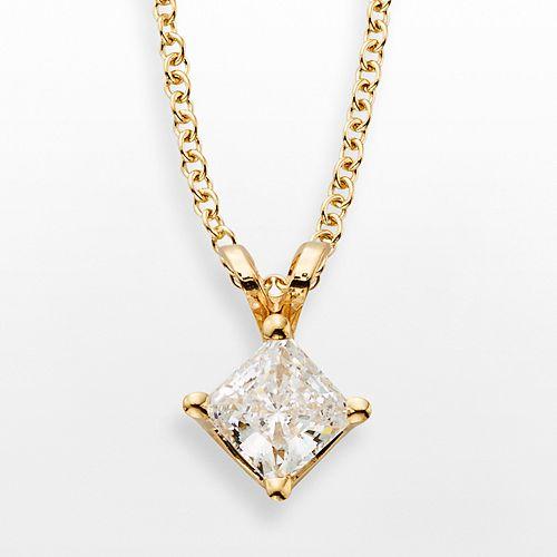 14k Gold 1/2-ct. T.W. IGL Certified Diamond Solitaire Pendant