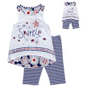 Dollie and Me Sparkle Tank and Striped Bike Shorts Set - Girls 7-12