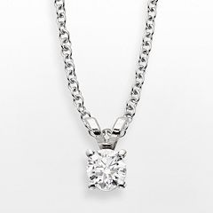 14k White Gold 1/4-ct. T.W. IGL Certified Diamond Solitaire Pendant