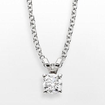 14k White Gold 1/4-ct. T.W. IGL Certified Diamond Solitaire Pendant