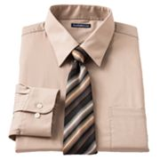 Croft and Barrow Classic-Fit Point-Collar Dress Shirt with Striped Tie Box Set - Big and Tall