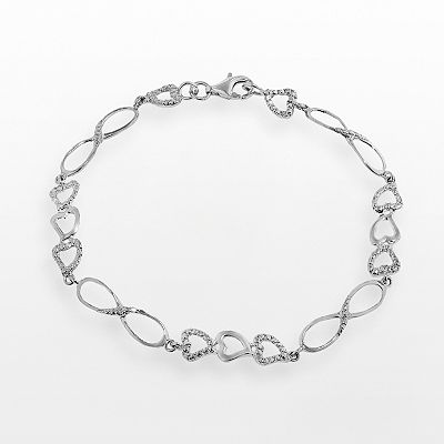 Sterling Silver Diamond Accent Heart and Infinity Bracelet