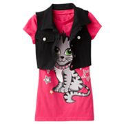 Knitworks Cat Tee and Crop Vest Set - Girls 7-16