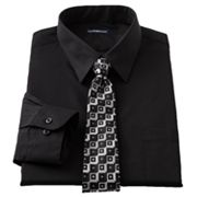 Croft and Barrow Classic-Fit Point-Collar Dress Shirt with Grid Tie Box Set - Big and Tall
