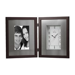 Bulova Winfield Aluminum & Wood Picture Frame Desk Clock - B1234