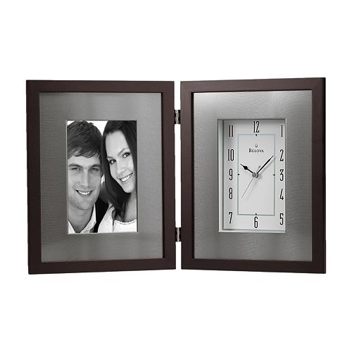 Bulova Winfield Aluminum & Wood Picture Frame Desk Clock - B1234