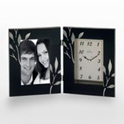 Bulova Autumn Copper Tone and Black Glass Leaf Picture Frame Desk Clock - B1236