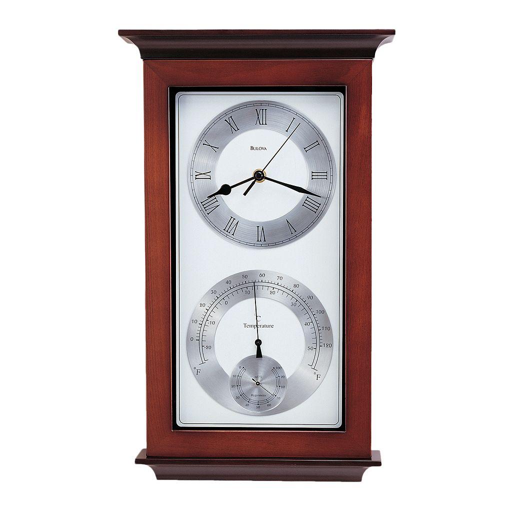 Bulova Yarmouth Wood Thermometer Wall Clock - C3760