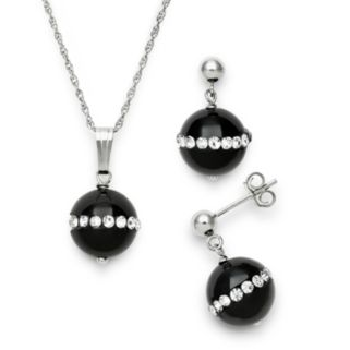 Sterling Silver Onyx and Crystal Pendant and Drop Earring Set