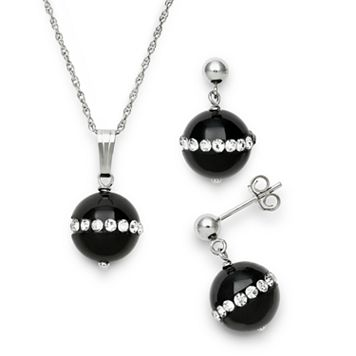 Sterling Silver Onyx & Crystal Pendant & Drop Earring Set