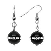 Sterling Silver Onyx & Crystal Drop Earrings