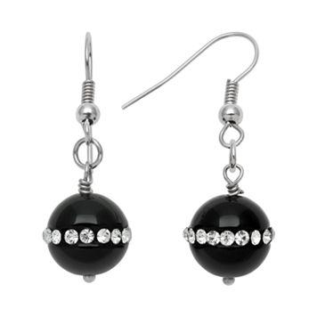 Sterling Silver Onyx & Crystal Drop Earrings