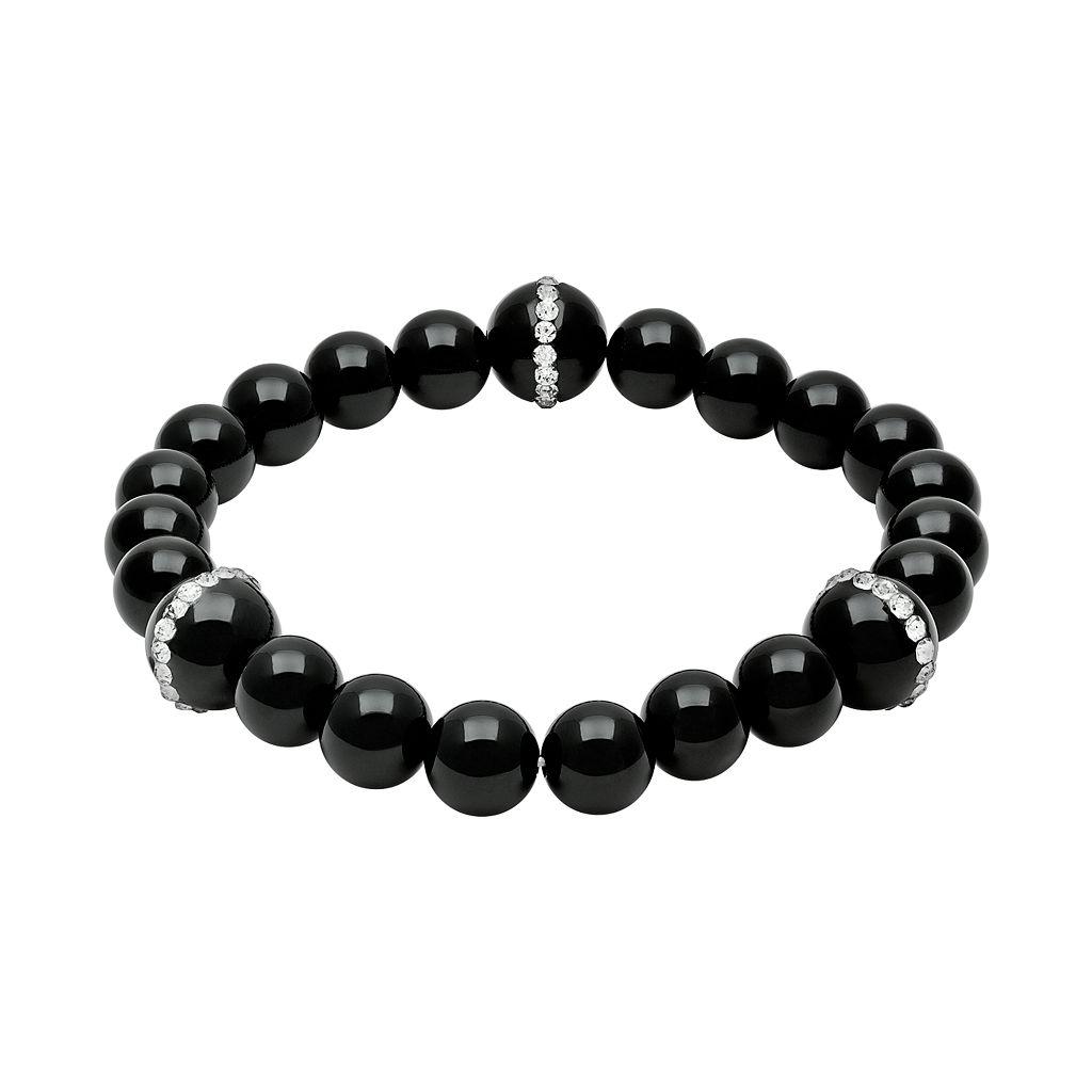 Onyx & Crystal Stretch Bracelet