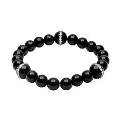 Onyx & Crystal Stretch Bracelet