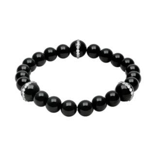 Onyx and Crystal Stretch Bracelet