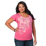 Oh Baby by Motherhood Floral Ruched Tee - Maternity Plus