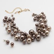 Croft and Barrow Simulated Pearl Illusion Necklace and Stud Earring Set